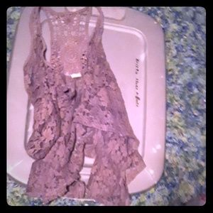 Brown lace vest overshot by bke buckle small